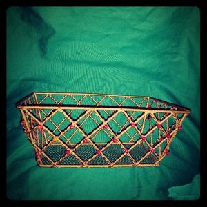 Vintage Heavy bronze colored beaded wire basket